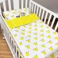 2017 limitada calidad de cama 3 unids/set 100% algodón cuna bedding set incluye funda de almohada + hoja de cama de cama de bebé + funda nórdica sin relleno