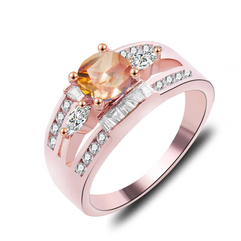Charm Multicolor รอบ Zircon โอปอลแหวนผู้หญิงวินเทจแฟชั่นทองเงิน Rose Gold Filled แหวน Birthstone