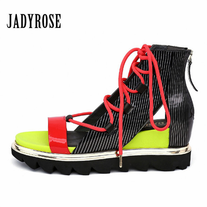 JADY ROSE Women Gladiator Sandals Height Increasing Summer Platform Wedge Shoes Woman Creepers Lace Up Casual Sneakers Wedges minika women sandals summer shoes breathable lace flats platform wedges lose weight creepers summer sandals cd41