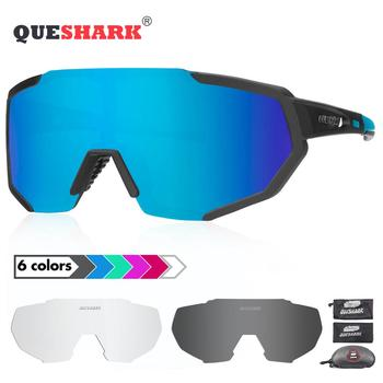 3aebe4b3d7 QUESHARK 2019 nuevo polarizado gafas ciclismo para hombre mujer bicicleta gafas  ciclismo gafas de sol 3 o 4 lente espejo UV400 Goggle