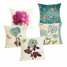 Flowers Cushion Cover Cotton Linen Pillow Case Cartoon Dog Cushion Case Home Decorative Pillow Cover for Sofa Cojines 43x43cm