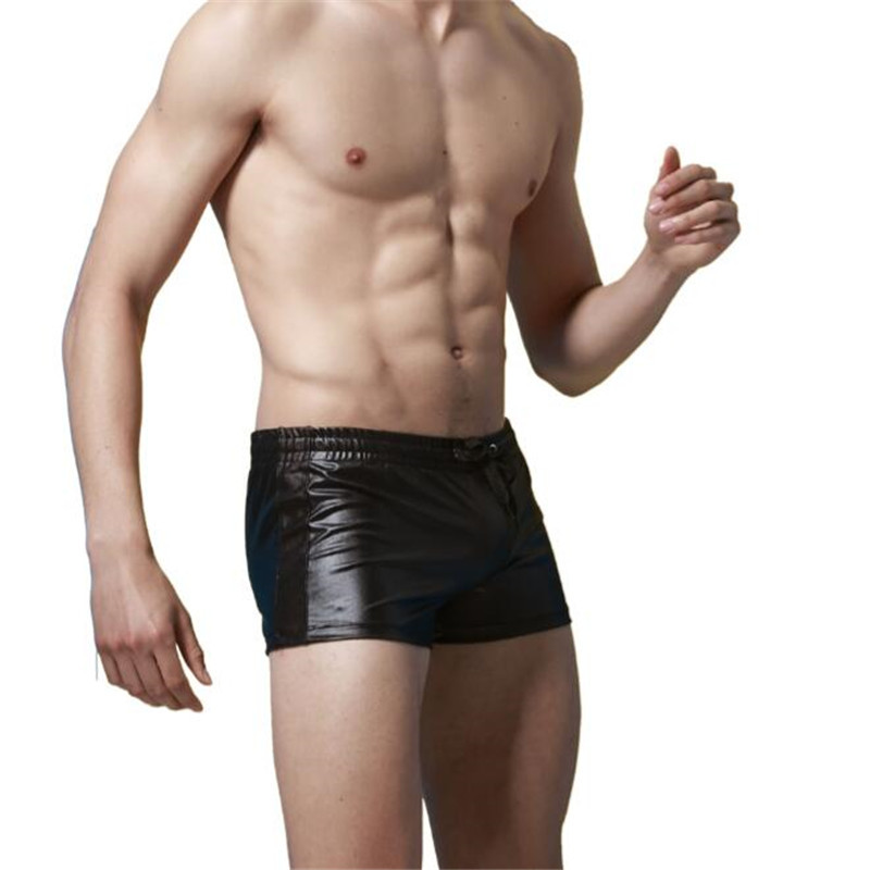 Topdudes.com - Men's Sexy Faux Leather Lace Up Trunk Shorts