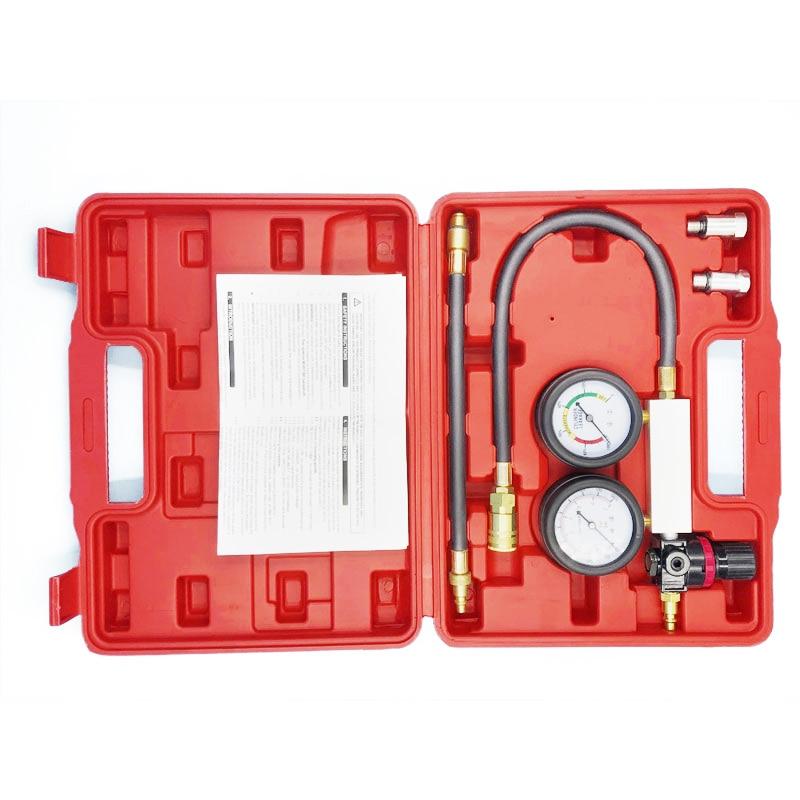 Cylinder Leak Tester Compression Leakage Detector Kit Set Petrol Engine Gauge Tool Kit Double Gauge System