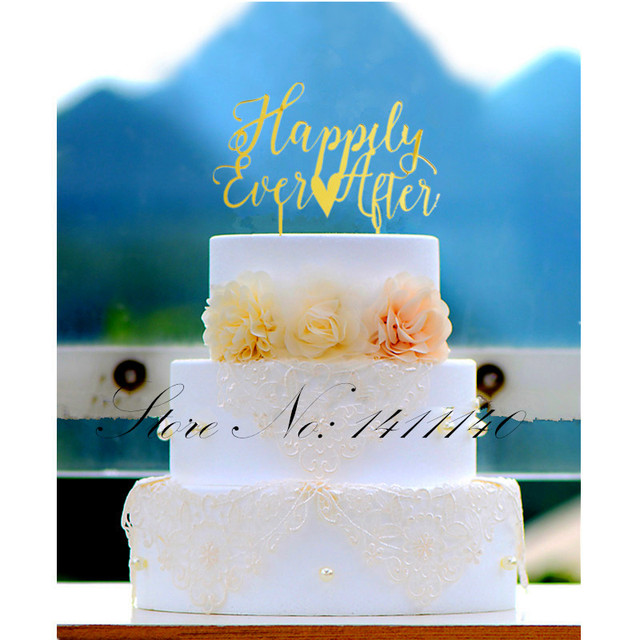Hily Ever After Red Gold Acrylic Wedding Cake Topper For Party