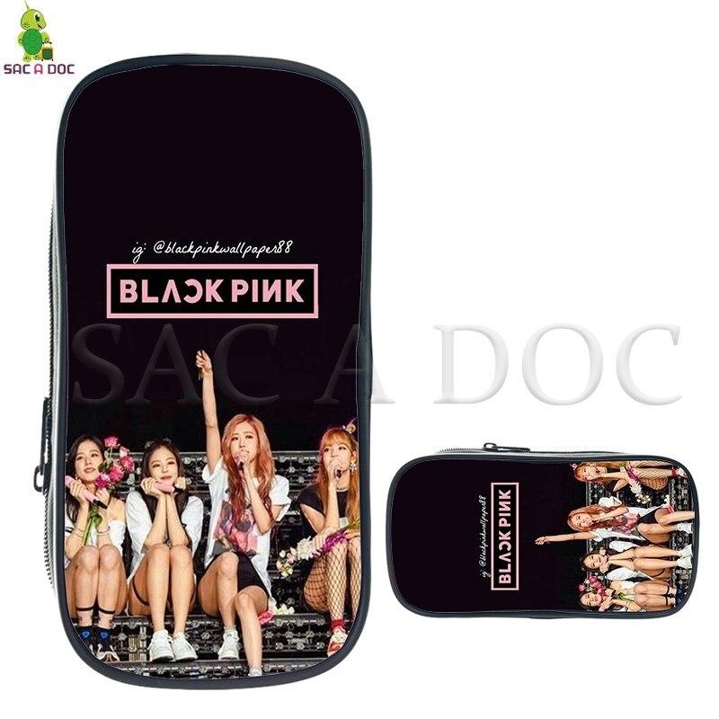 Blackpink Moda Cosméticos Saco De Crianças Caixa de Lápis Material Escolar Kpop Jisoo/Jennie/Rose/Lisa Impressa Sacos de Maquiagem fãs Presente