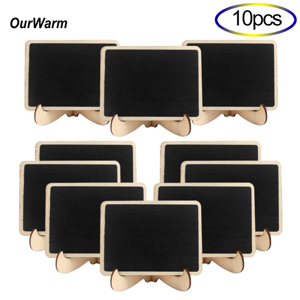 OurWarm 10Pcs Wood Wedding Signs Mini Chalkboard Place Cards Table Numbers Decorative Wood Plaques for Wedding Party Decoration