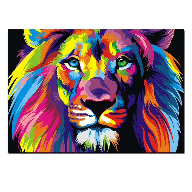 Bien connu Pop Art HD Print Colorful Lion Animals Abstract Oil Painting on  LV52