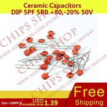 1LOT 100PCS Ceramic Capacitors DIP 5pF 5R0 80 20 50V