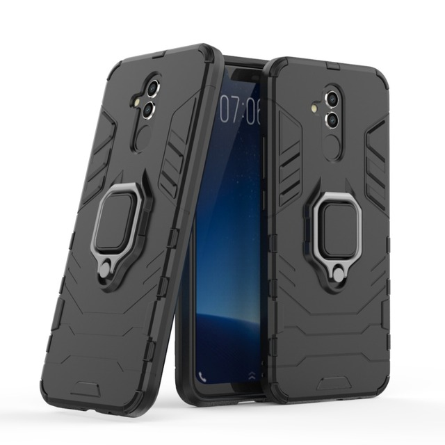 buy popular 7cc5b 3b4dc US $2.96 10% OFF|NUOCDE For Huawei Mate 20 lite Case Hybrid Silicone PC  Rugged Armor Metal Finger Ring Holder Back Cover for Huawei Mate 20 lite-in  ...