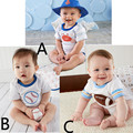 3 Pieces Wholesale Baby Boys Short Sleeve Baseball Bodysuits Newborn Baby Bodysuits Climbing Clothes Jumpsuits 2016 Summer V20