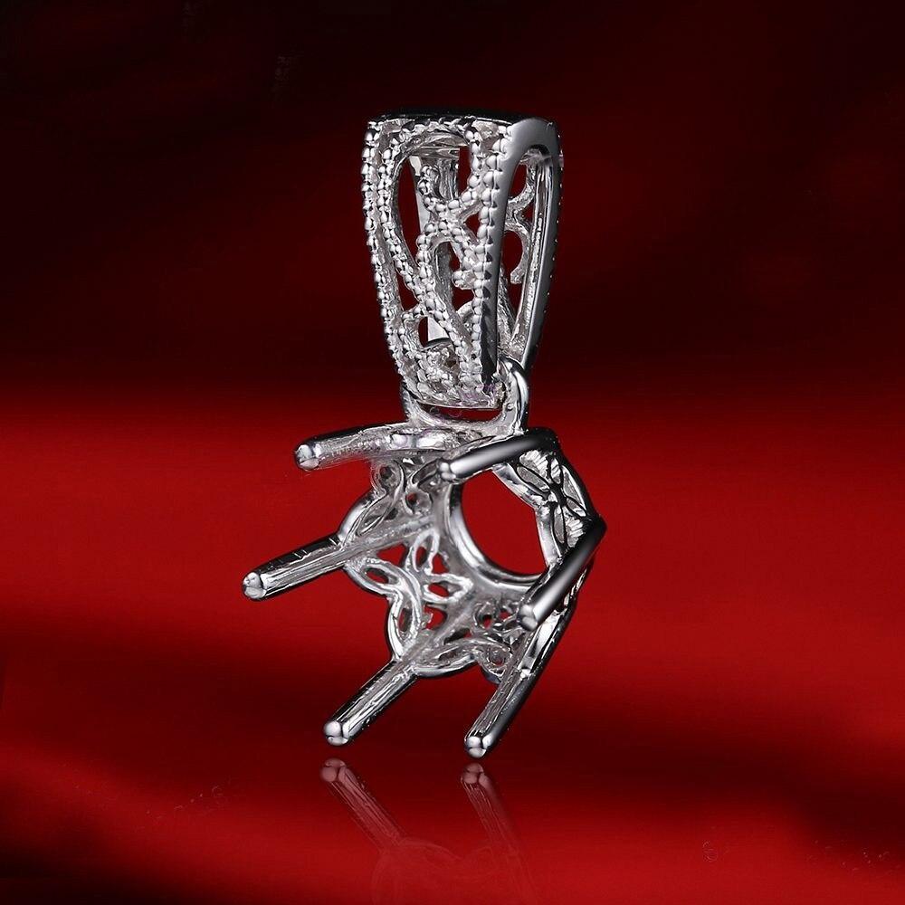 Cadre de broche HELON 9mm rond Semi monture filigrane pendentif en argent fin de mariage Art déco en argent Sterling 925 pendentif de bijoux