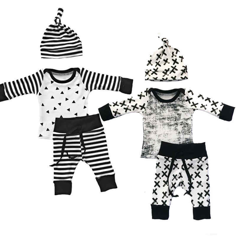 3pcs Baby Boy Girl Kids Newborn Infant T-Shirt Hat Trousers Outfits Clothing Set