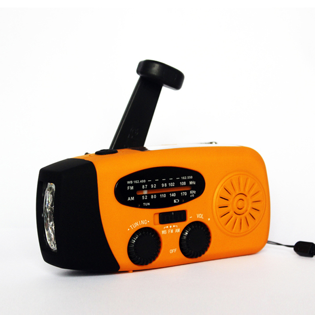 Emergency Flashlight Hand Crank Solar AM/FM/NOVV Radio With USB Phone Charger