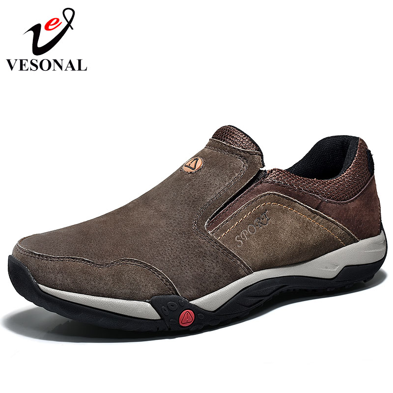 VESONAL Brand 2018 Spring Genuine Leather Casual Walking Shoes For Men Driving Loafers Male Footwear Breathable