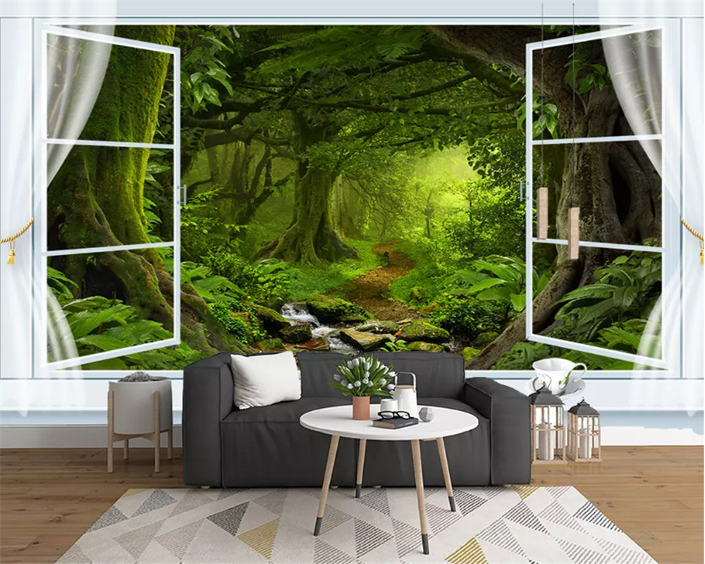 beibehang Modern leisure green tree forest waterfall landscape tool wall background custom fashion papel de parede 3d wallpaper in Wallpapers from Home Improvement
