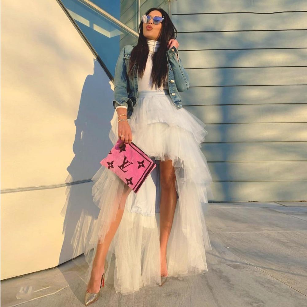 Style Hippie jupe haute basse sur mesure mode jupes en Tulle à plusieurs niveaux femmes Chic Tutu longue jupe de bal fermeture éclair taille robes de soirée