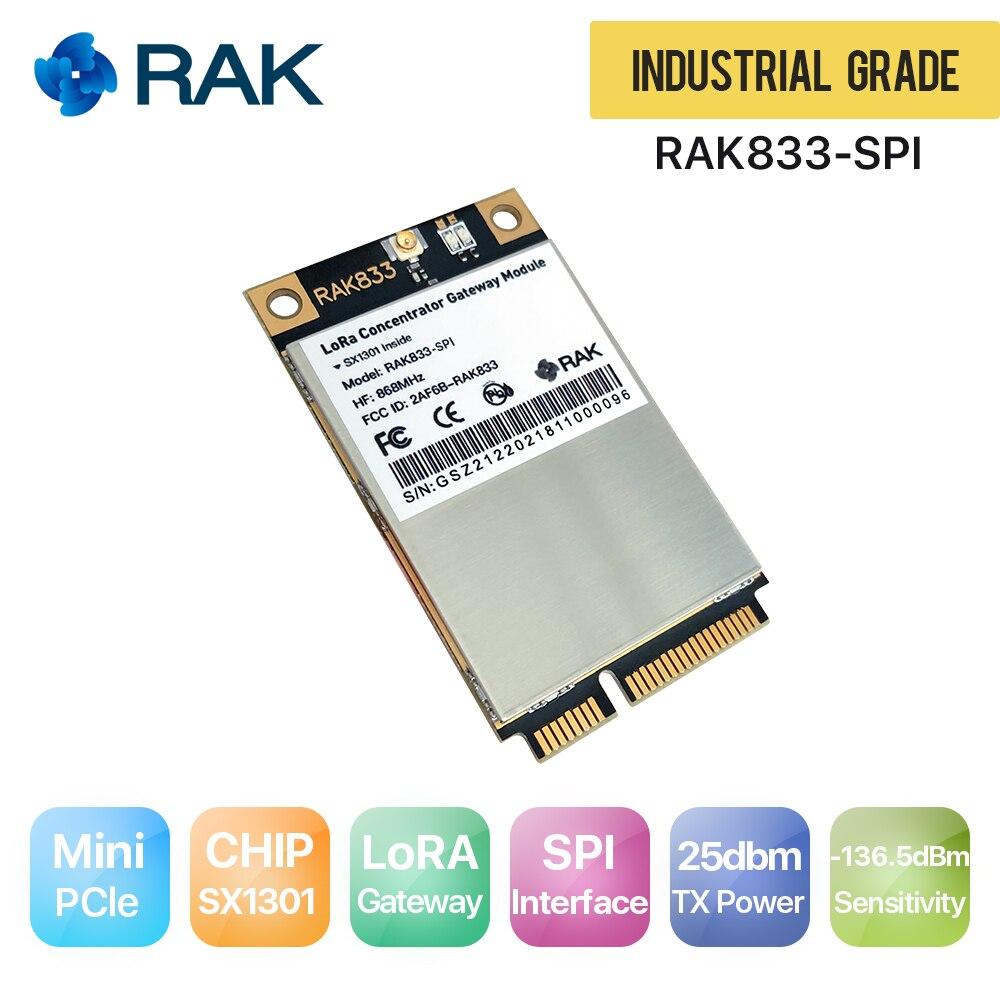 868/915 Mhz Unterstützung Spi Interface Industrie Grade Mini Pcie Lora Gateway Konzentrator Modul Begeistert Rak833 Spi Sx1301chip