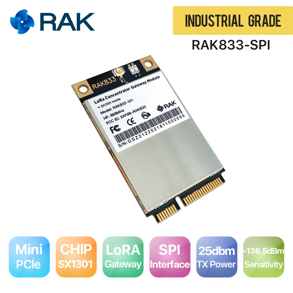 где купить RAK833 SPI SX1301Chip, 868/915MHz, Industrial Grade Mini PCIe LoRa Gateway Concentrator Module, support SPI Interface дешево