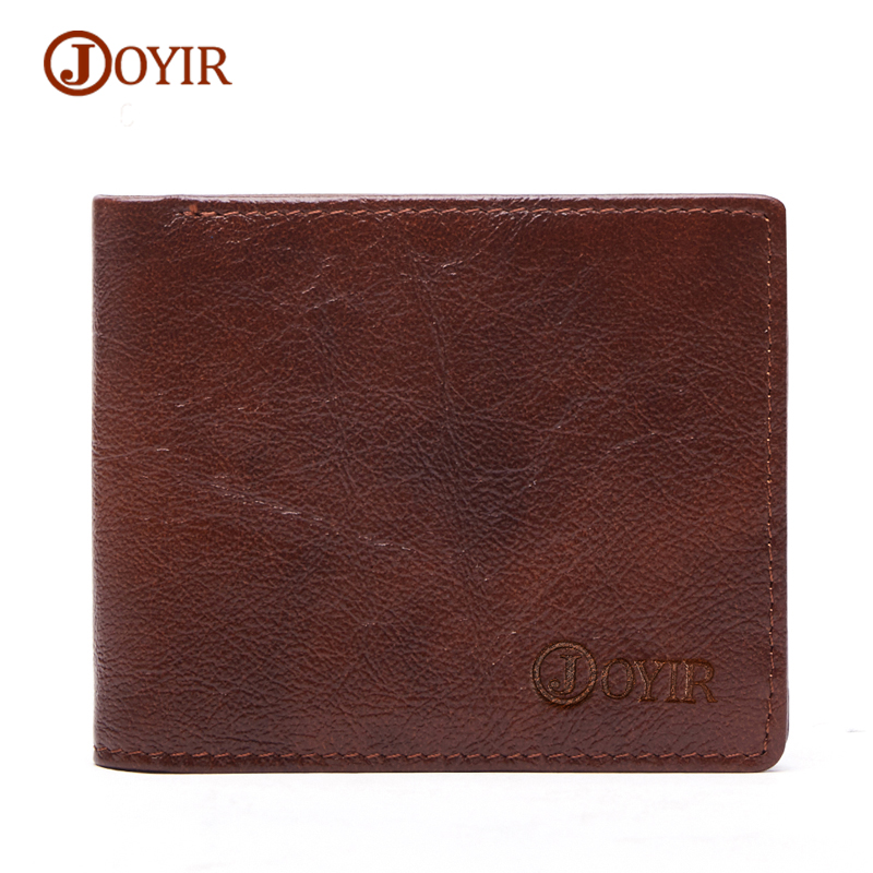 JOYIR Mens Wallet Male genuine leather Thin Slim Wallet Mens Purse Money Bag Vintage Small Men Wallets Short Walet Card Holder