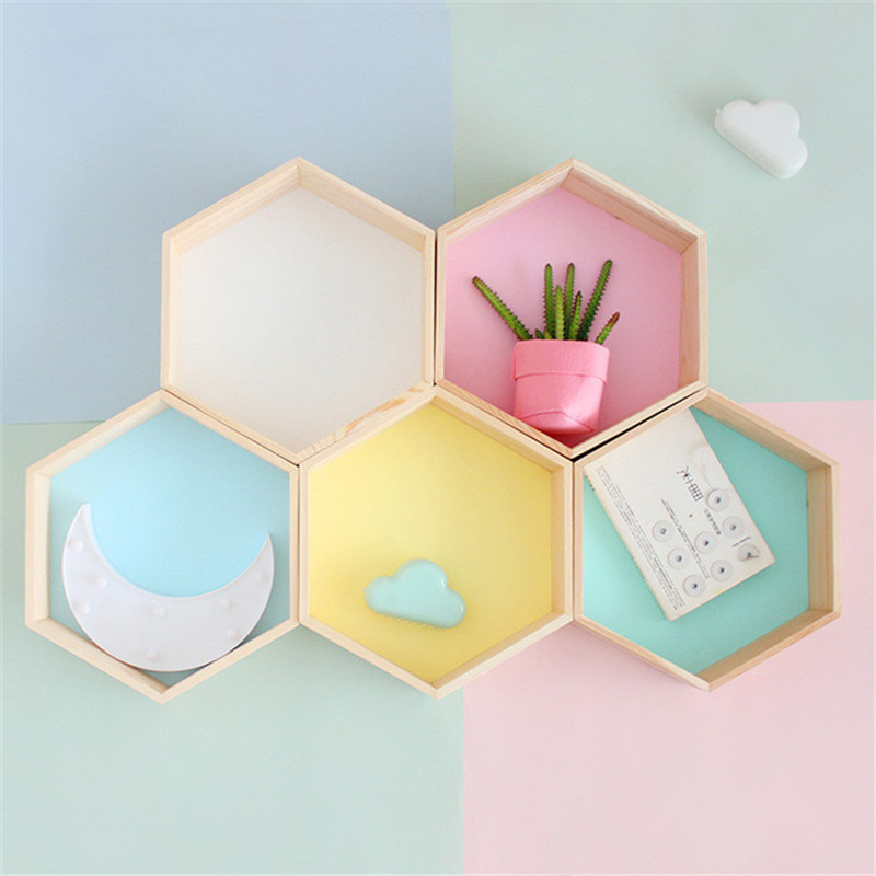 New Wood Hexagon Wall Decoration Baby Room/Bedroom Candy Organization Hanger Photography Props Shelves Storage Decor Polygon Box
