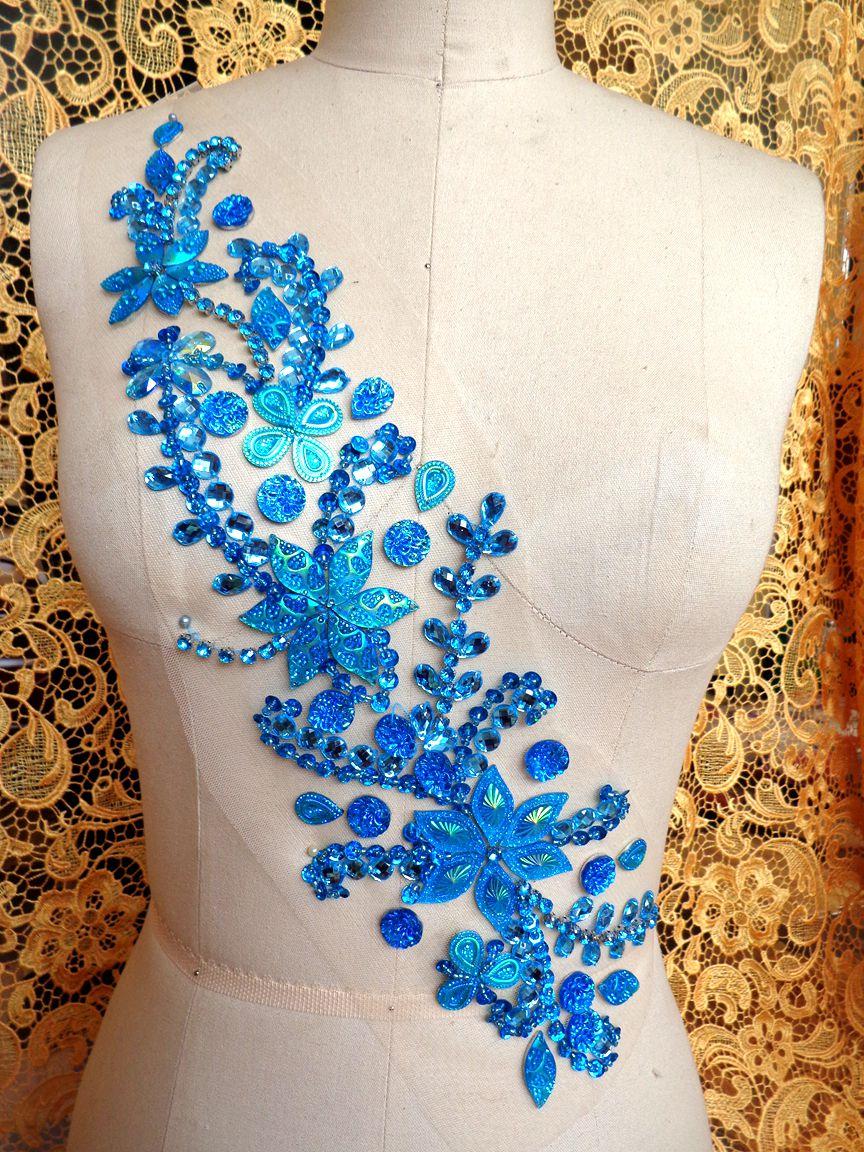 ᗕLos remiendos cristalinos hechos a mano del azul de cielo coser ...