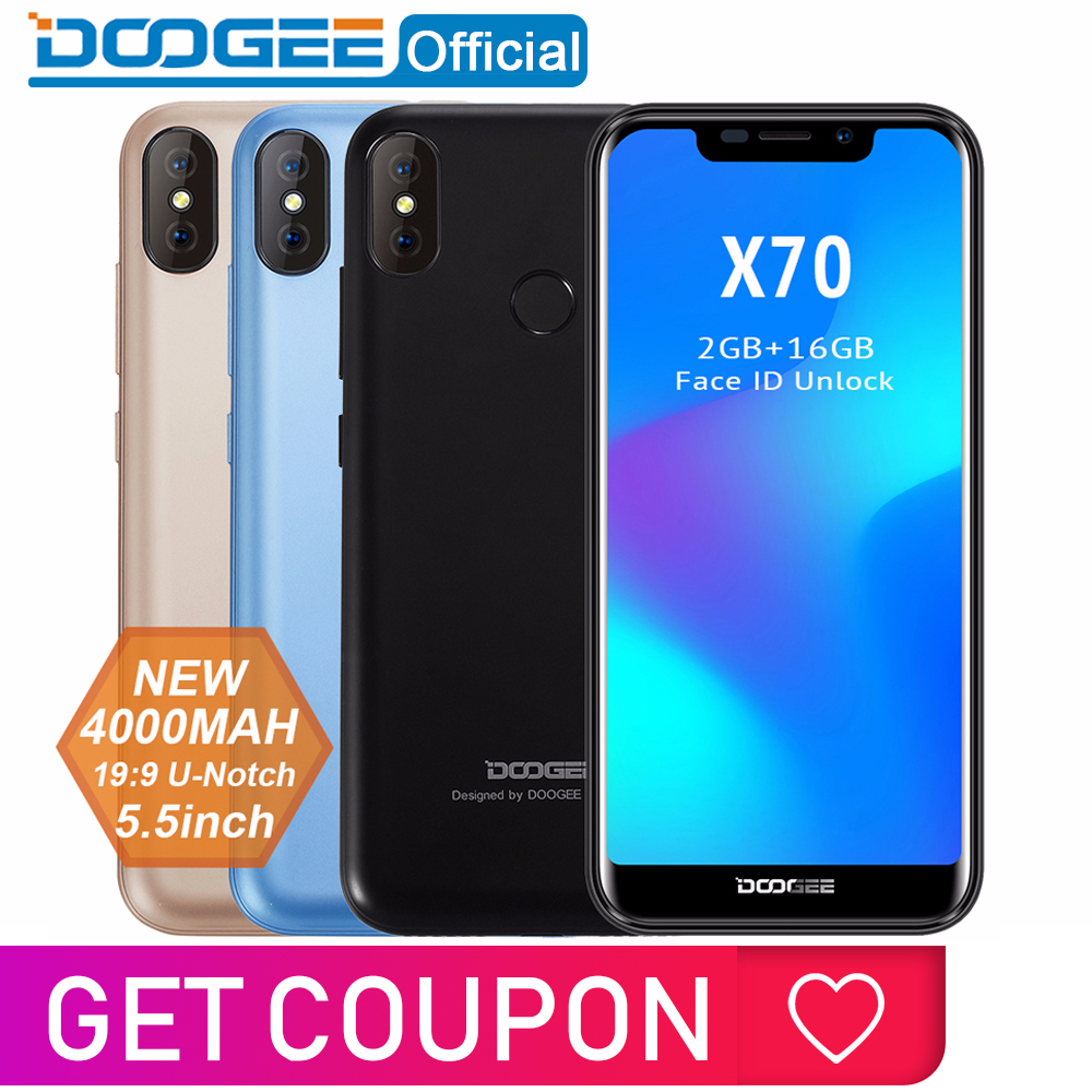 New Doogee X70 Smartphone Face 5.5'' U-notch 19:9 Mtk6580 Quad Core 2gb Ram 16gb Rom Dual Camera 8.0mp Android 8.1 4000mah
