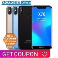 2018 New DOOGEE X70 Smartphone Face 5.5'' U Notch 19:9 MTK6580 Quad Core 2GB RAM 16GB ROM Dual Camera 8.0MP Android 8.1 4000mAh