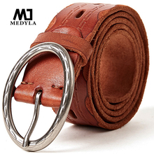 MEDYLA retro men natural leather belt high quality original oval pin buckle for jeans casual pants accessories