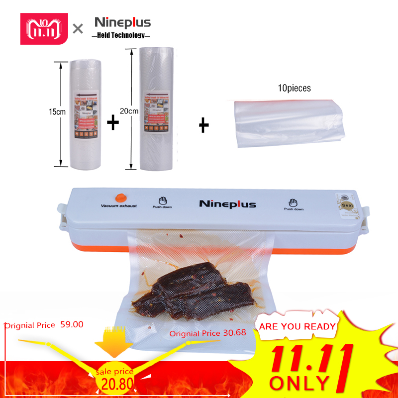 Nineplus Vacuum Packaging Rolls Vacuum Plastic Bag Storage Bags home Vacuum Sealer Food Saver width 15 and 20cm 2 Rolls/Lot