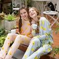 2016 de Otoño de Las Mujeres ropa de Dormir Lindo Patrón Pato Amarillo de Manga Larga Pijama Establece Camisones Home Ropa De Mujer Casual Ropa de Dormir