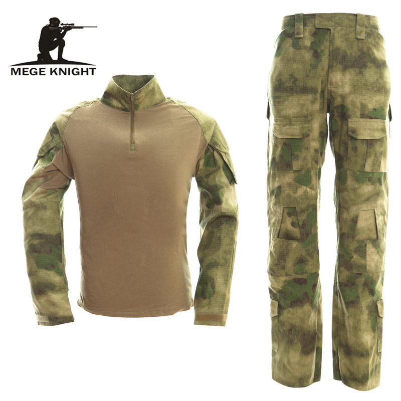 USMC FROG II Ranger Inspire Military Tactical Airsoft Paintball Combat Uniform T shirt + Pants Knee Elbow Pads Multicam ATAC FG ...