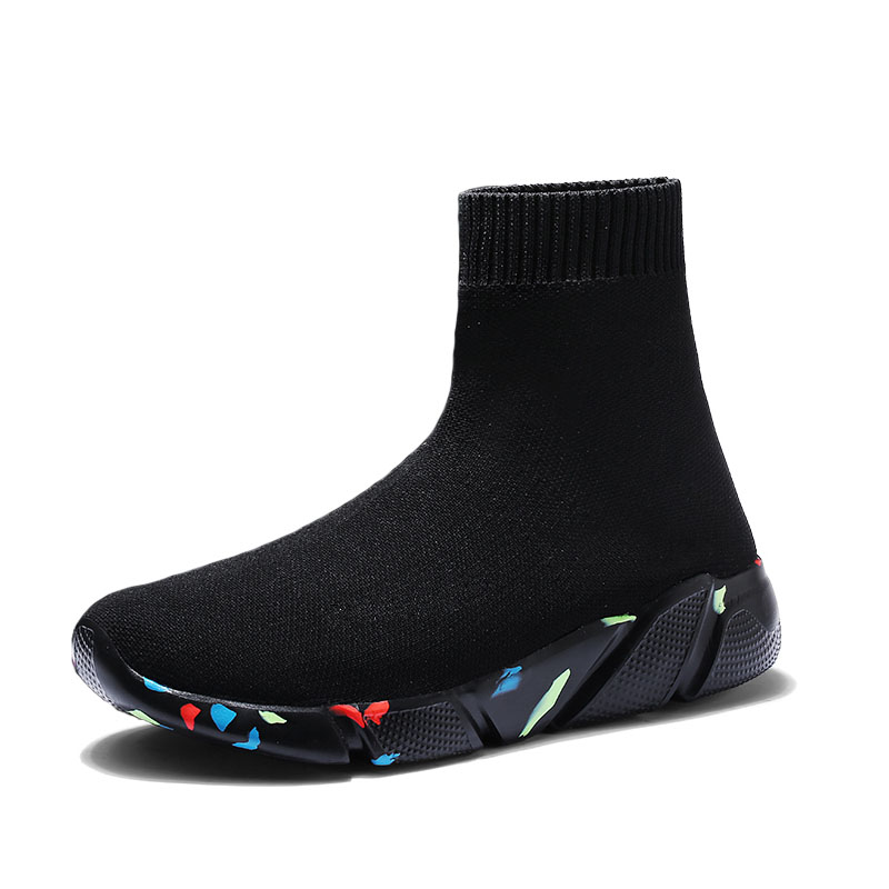 Children High Top Breathable Socks Shoes Sports Child Stretch Sneakers Flat Running Shoes Sneaker Kids Walking Athletic 29-47 Сникеры