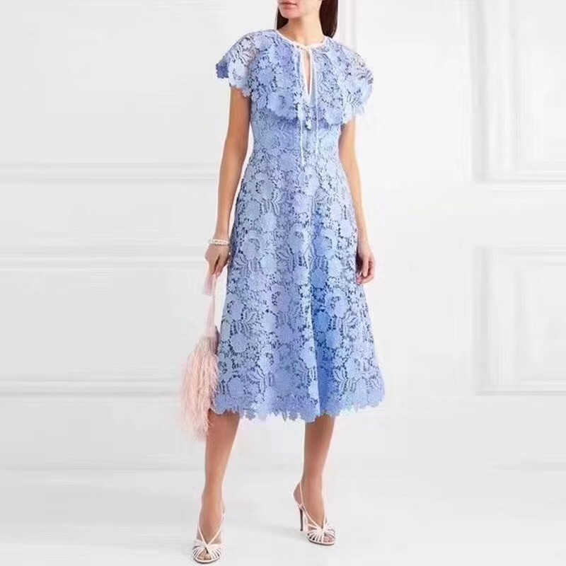 High Quality Women Romantic Lace Dresses Maxi Long Sexy Hollow Out England Style Female Office Wear Dress 2019 Designer Vestido