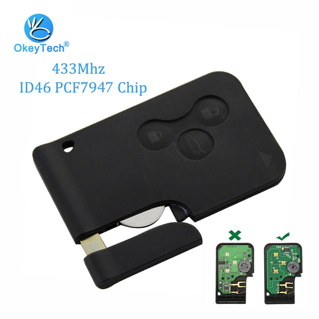 OkeyTech 3 Button 433Mhz ID46 PCF7947 Chip with Emergency Insert Blade Smart Remote Key For Renault Megane Scenic 2003-2008 Card