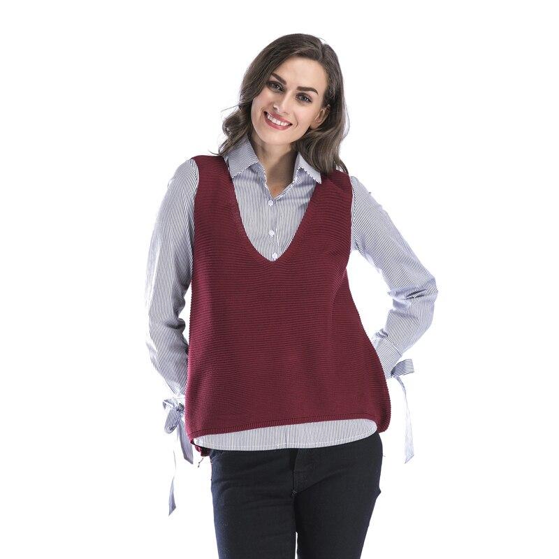 2018 automne Nouveau femmes colete casaco feminino chandail Solide V-cou harajuku coréenne mode Sans Manches rouge À Tricoter pull