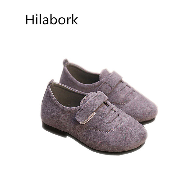 2017 spring new children's shoes breathable suede leather shoes fashion HOOk & LOOP solid color boys and girls casual shoes A077