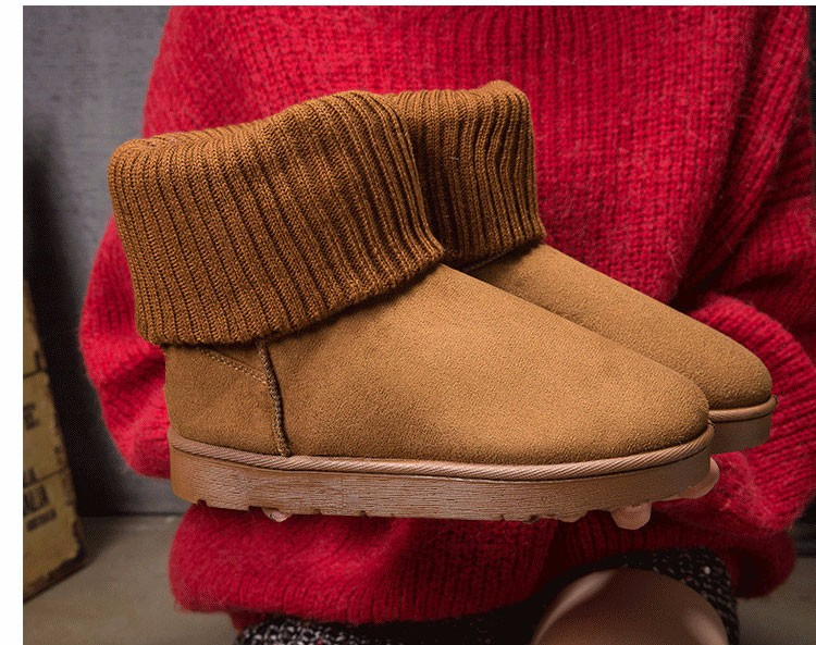 KUYUPP Patchwork Knitting Wool Women Snow Boots Winter Shoes 2016 Flat Heels Warm Plush Ankle Boots Slip On Womens Booties DX119 (47)