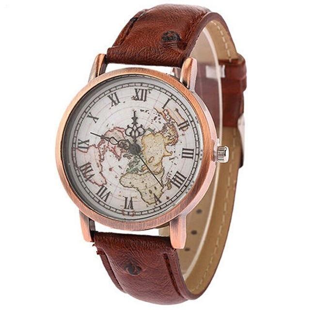 8554ea0cccf Shellhard Terra Mapa Relógio das Mulheres Dos Homens Do Estilo Do Vintage  Pulseira De Couro Romana