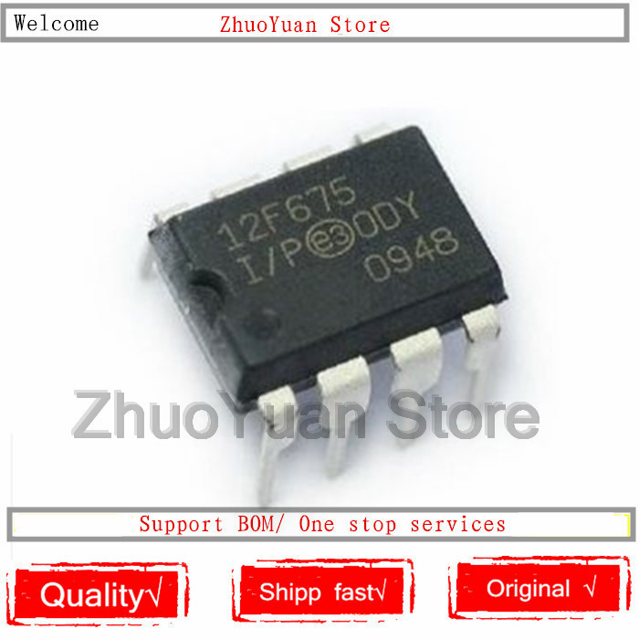 10PCS/lot PIC12F675-I/P PIC12F675 12F675 DIP-8 IC Chip New Original In Stock