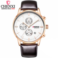 CHENXI Fashion Brand Men Clock Quartz Wrist Watches Top Brand Luxury Chronograph Leather Business Dress Gift