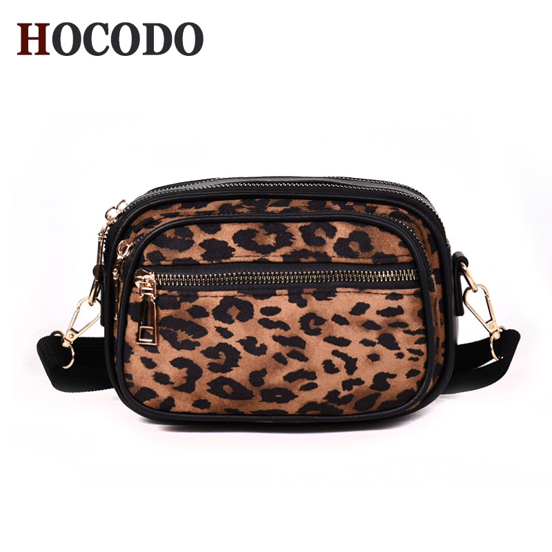 HOCODO Mini Leopard Women Handbags Scrub Pu Leather Messenger Bags Fashion Small Shoulder Bags Zipper Phone Bag Wallet Crossbody
