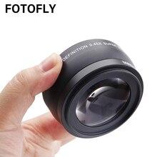Lente grande angular com lentes de vidro óptico, 0.45x 46 49 52 55 58 mm para canon, nikon, pentax acessório da lente alta definição