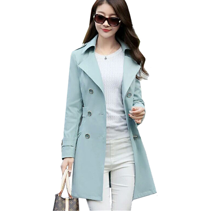 Windbreaker Coat Women Long Double-Breasted Fashion Plus-Size New Turn-Down Thin Slim