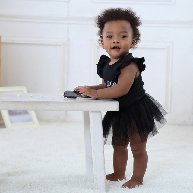 81833a686a1b Newborn Baby Girls Tutu Dress My Little Black Dress Lace Infant Sleeveless  Cotton Bodysuit Black Letter
