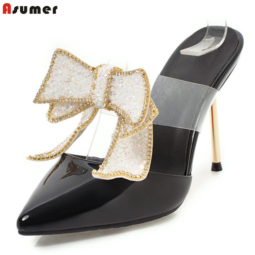 ASUMER 2018 summer shoes pointed toe elegant wedding shoes woman thin heel butterfly knot pumps women shoes high heels shoes new hollow pointed stiletto elegant spring summer women pumps sweet bowknot high heeled shoes thin pink high heel shoes k88