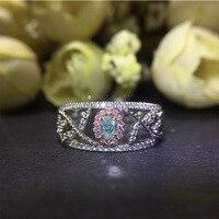 ANI 18 К из белого золота (AU750) для женщин обручальное кольцо сертифицированные классический 0,2 CT овальным вырезом натуральным голубой бриллиа