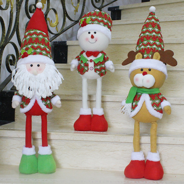 big christmas decorations for party stuffed plush toys elongated 68cm long legged santa snowman ornament holiday - Big Christmas Decorations