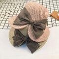 Pre-diseño de moda Elegante Sombrero de Sol Mujer Verano Grandes Sombreros de Ala Ancha Casquillo de la playa del Bot Bow Partido Womens Sunhats Para Damas Venta Caliente