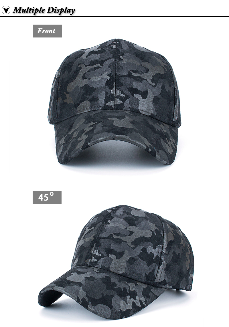 Faux Leather Camo Baseball Cap - Front and Front Angle Views