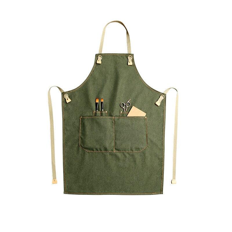 Denim Keuken Koken Schort met Verstelbare Katoen Band Grote Zakken Blauw Barista Mannen en Vrouwen Homewear